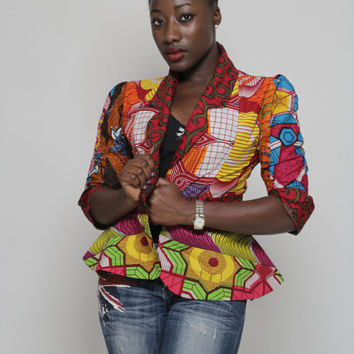African Print Patchwork Jacket