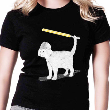 Cat Star Wars TV Womens T Shirts Black And White