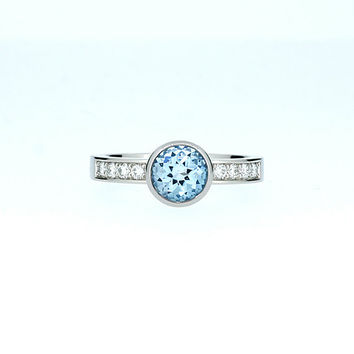 Sky blue topaz solitaire engagement ring, white gold ring, diamond engagement, topaz ring, bezel, white gold ring, unique, blue gem, custom