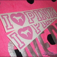 2 Victoria's Secret I LOVE PINK Dog 16 x 8 by JaykasTreasureShop