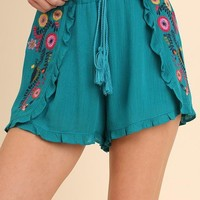 Turquoise Embroidered Tie Waist Shorts