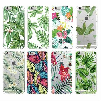 2016 Tree Leaves Tropic Summer Floral  Fashion Soft TPU Printed Phone Case Cover For iPhone 4 5 6 7 S Plus SE 5C