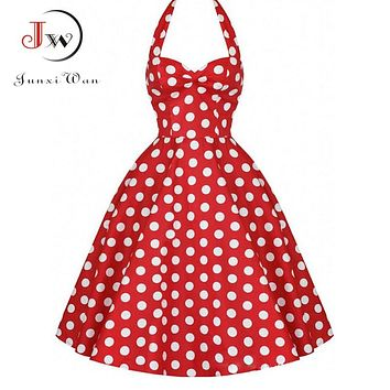 DRESS Summer Casual Dress Women Polka Dot Retro Swing Gown Pin up Robe Vintage 60s 50s Rockabilly Dresses