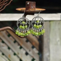 Peridot Stone Earrings ~ Chandelier Earrings ~ August Birthstone ~ Green Jewellery ~ Healing Crystals ~ Raw Peridot ~ Anniversary Gift