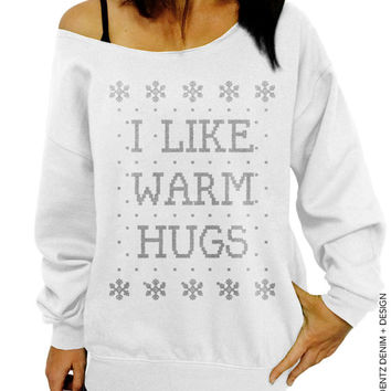 I Like Warm Hugs - Ugly Christmas Sweater - White with Silver Sl 5bb9905dace