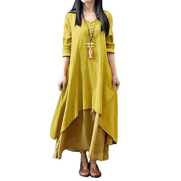 2018 Spring Autumn Maxi Dress Women Casual Loose Dress Solid Long Sleeve Cotton Retro Boho Long Dress Plus Size Retro Robe Femme