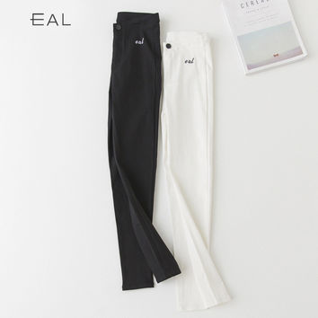 Embroidery Leggings Korean Pencil Pants Alphabet Pants Skinny Pants [9022910535]