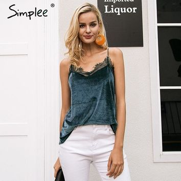 Simplee Casual strap velvet strap camisole women tank top Sexy button lace top female Autumn streetwear backless chic cami