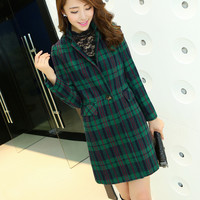 Women : Long Plaid Cashmere Coat with Pockets YRB0422