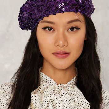 All That Jazz Sequin Beret - Purple
