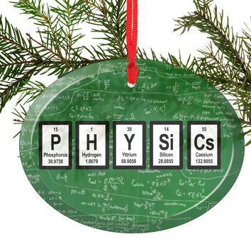 Physics Periodic Table of Elements Glass Christmas Ornament