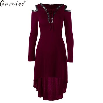 Gamiss High Quality Hooded Dress 2017 Vestidos Autumn Lace Up Cold Shoulder Casual A Line Solid Ladies Long Sleeves Midi Dress