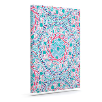 "Miranda Mol ""Prismatic White"" Blue Pink Abstract Canvas Art"
