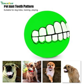 New Arrival Funny Lovely  Pet Dog Puppy Cat  Ball Teeth Pattern Plastic Chew Sound Balls Dogs Play Toy
