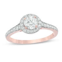 1 CT. T.W. Diamond Frame Engagement Ring in 14K Rose Gold - Save on Select Styles - Zales