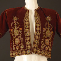1940s Velvet Embroidered Bolero Jacket, Bust-36