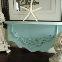 Vintage Wall Shelf Hand Painted Tiffany Blue Distressed