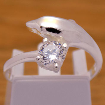 Vintage Sterling Silver White Cubic Zirconia Dolphin Ring 925 Hallmark Marvelous Fashion Gently Stylish Charm Beautiful Size 7.25 US / O