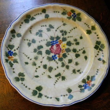 Vintage French Hand Painted Longchamp China Round Serving Platter or Chop Plate - Pattern Nemours