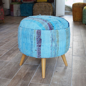 Blue Round Stool, Covered with Vintage Cotton Kilim