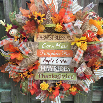 Fall Wreath, Fall Mesh Wreath,Fall Harvest Wreath, Fall Burlao Wreath, Pumpkin Wreath, Fall Welcome Wreath, Fall Deco Mesh, Fall Front Door