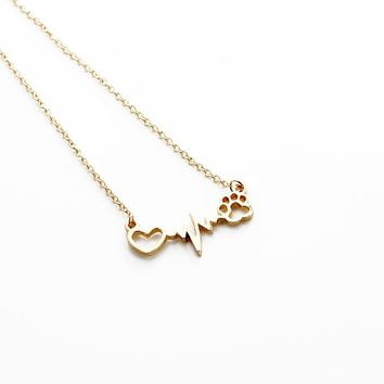 Hot Sale Love Heart Dog Cat Paw Print Pendant Neckalce Friendshi bfad782afb71