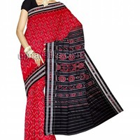 UNM6065- Alluring casual Alabama crimson red handloom Sambalpuri mercerized sico saree