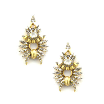 Arnett Earrings, Golden Crystal