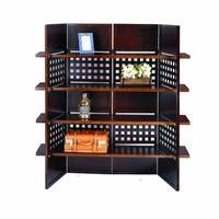 ORE International N1032-4-WALNUT 4-Panel Walnut Finish Room Divider with Book Shelves