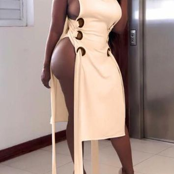 New Beige Cut Out Lace-up High Side Slit V-neck Bodycon Clubwear Midi Dress