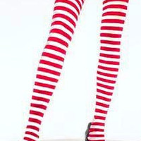 Plus Size White & Red Stripe Tights