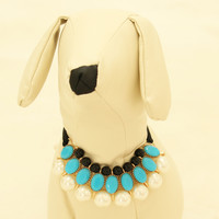 Blue Pearl and Rhinestone Dog jewelry- Pet accessories