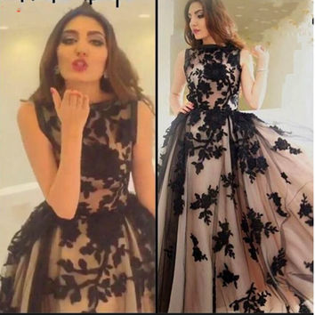 Long Black Appliques Arabic Evening Gowns Muslim Evening Dresses 2016 Vestido De Festa