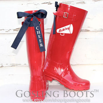 Custom Cherry Red CHEER Rain Boots with Navy Bows