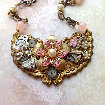 Steampunk Flower Necklace Pink Enamel Flowers by bionicunicorn