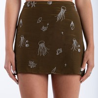 Get On The Seafloor Mini Skirt in Olive