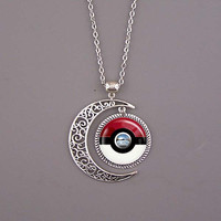 Pokeball Necklace,Pokeball  jewelry,Pokeball pendant,Pokemon necklace,Pokemon jewelry,Pokemon pendant,red and white,custom picture pendant.
