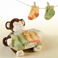 Baby Aspen BA15103NA My Little Sock Monkey Plush & Sock Set