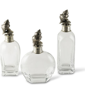 Pewter Conch Shell Liquor Decanters