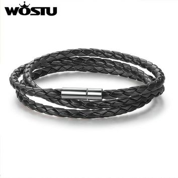 Hot Sale 6 Color 60CM PU Leather Wrap Bracelet With Magnet Clasp High Quality Jewelry For Women Men