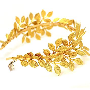 OUMOU Greek/Roman Goddess Accessories Gold Leaf Crown Headpiece - Bridal Wedding Headband (Gold)