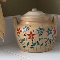 Antique Crockery Cookie Jar Bean Pot with Hand Painted Flowers Twisted Handles 3QT