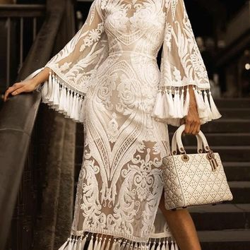 Hollywood Legend White Sheer Mesh Sequin Lace Long Bell Sleeve Round Neck Tassel Fringe Bandage Maxi Dress