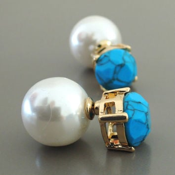 Ear Jackets - Turquoise Studs - Pearl Earrings - Double Sided Earrings - Stud Earrings - Statement Earrings - Post Earrings