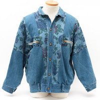 Vintage Jean Jacket | 90s Light Blue Denim With Floral Accents | Jersey Cotton Lining | Women's Bomber Jacket