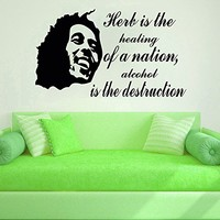Wall Decals Herb Is The Healing Of Quote Bob Marley Decal Vinyl Sticker Family Bedroom Tobacco Shop Music Studio Home Decor Ms179