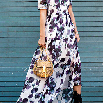 Multicolor Floral Flounce Sleeve Empire Maxi Dress