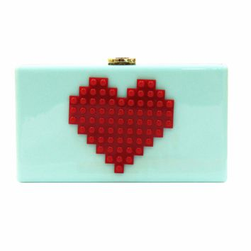 Heart  Lego Acrylic Box Evening Clutch