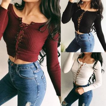 Sexy Bandage Women Knitted Off Shoulder Crop Tops Red Black White Summer Ladies Blouses Tank Tops