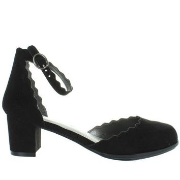 VONES2C MIA Kids Amore - Girl's Black Nova Suede Scallop Edged Ankle Strap Pump